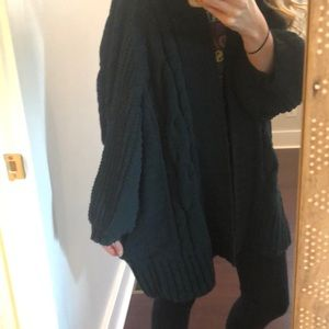 Express Sweaters - Forest green chenille bubble sleeve cardigan